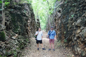 With a mate on a section of the Thai-Burma railway.